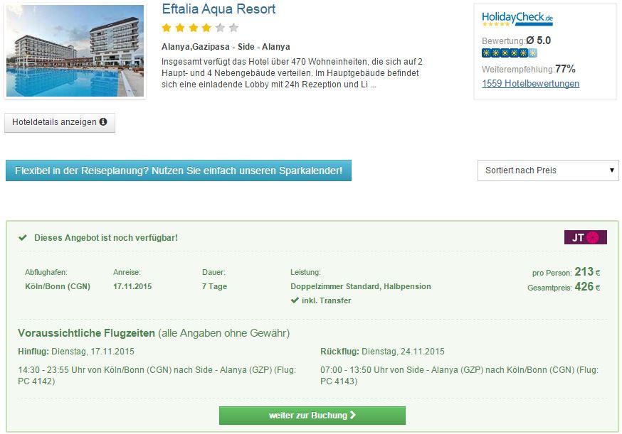 7 Tage Türkei im 5* Resort inkl. Halbpension nur 213€