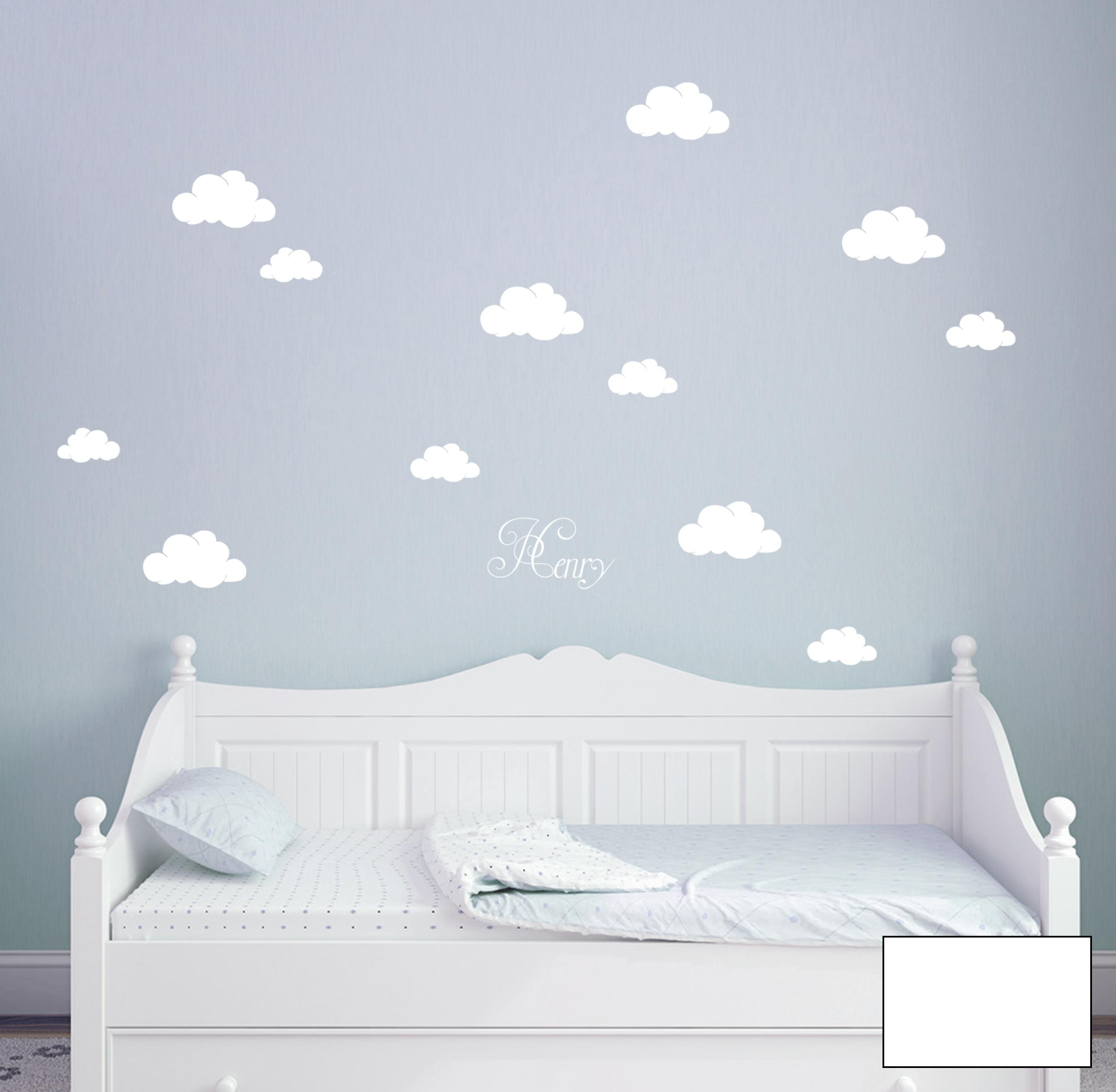 wandtattoo wolken w lkchen himmel mit namen m1682 ebay. Black Bedroom Furniture Sets. Home Design Ideas