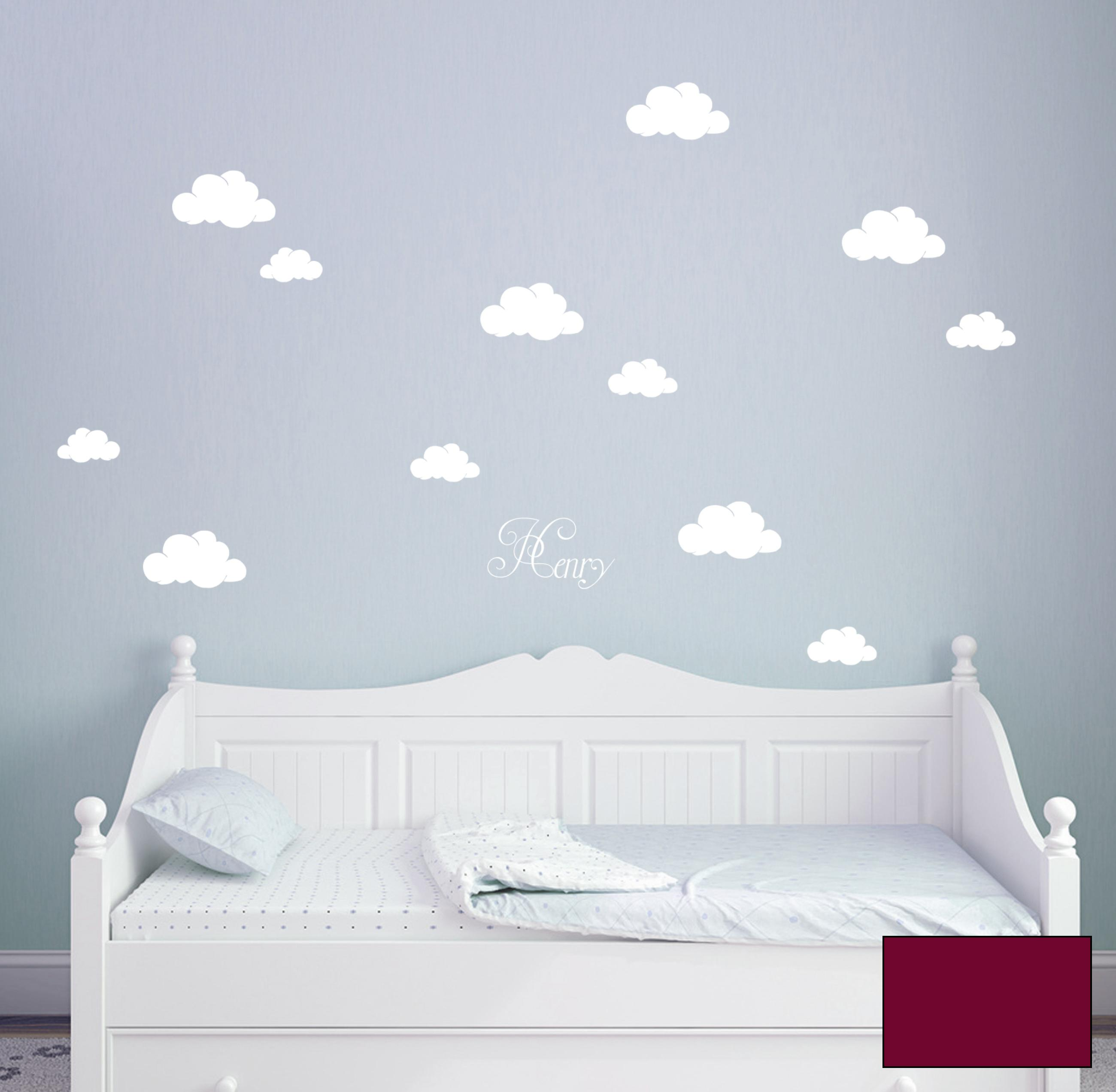 wandtattoo wolken w lkchen himmel mit namen m1682. Black Bedroom Furniture Sets. Home Design Ideas
