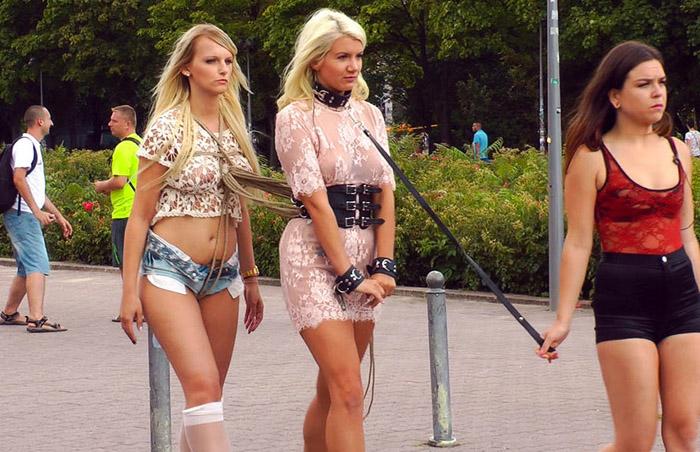 Public Disgrace - Juliette March, Layla Pryce, Mika Olsson - Juliette March Disgraces Two Busty Bondage Slut Blondes 720p WebRip (2015)