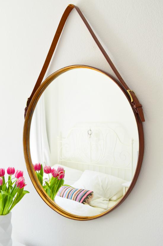 spiegel rund lederband wohn design. Black Bedroom Furniture Sets. Home Design Ideas