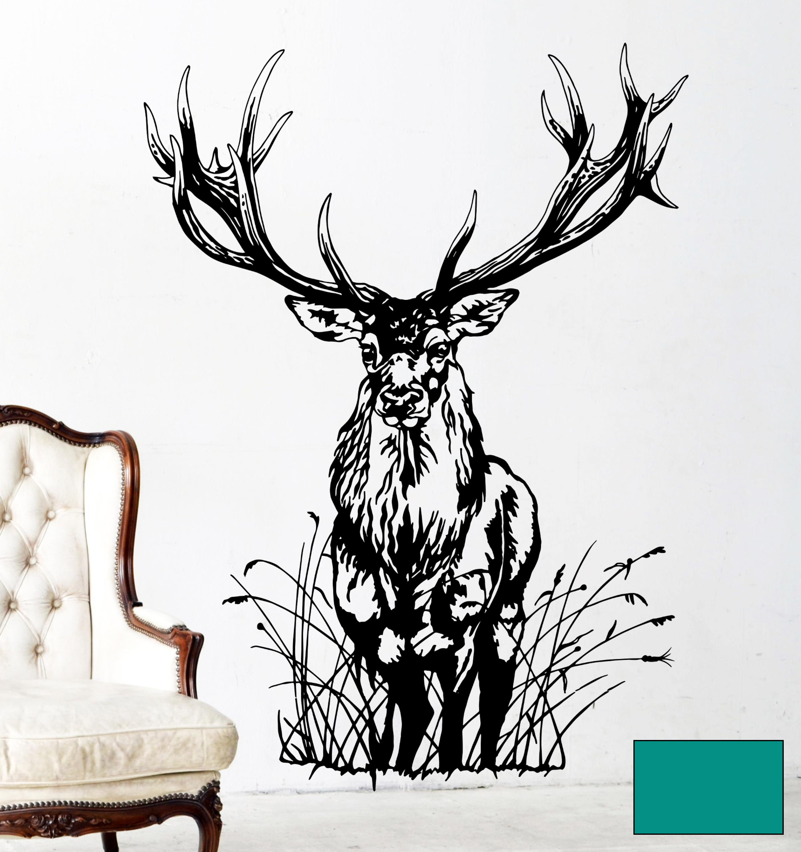 wandtattoo hirsch wild rehbock waldtier reh m1713 ebay. Black Bedroom Furniture Sets. Home Design Ideas