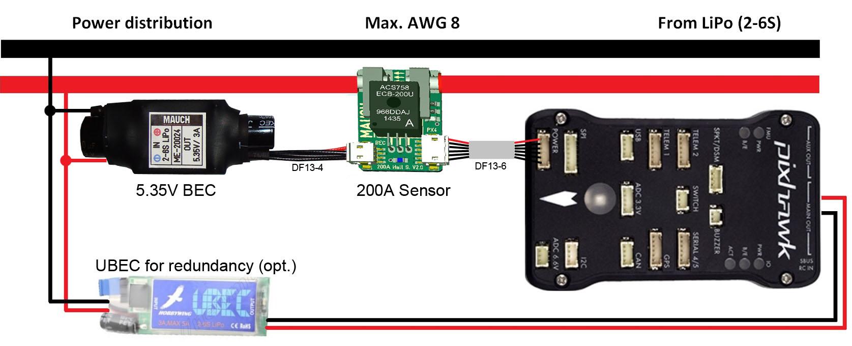 200a sensor und ext bec f 252 r apm pixhawk