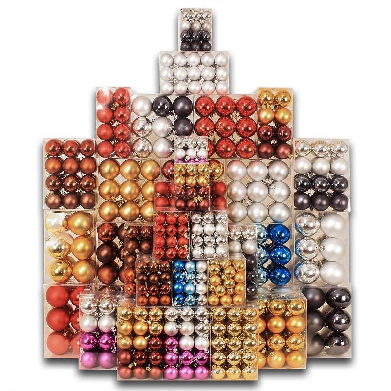 130 weihnachtskugeln christbaumkugeln weihnachtsdeko aus kunststoff farbauswahl ebay. Black Bedroom Furniture Sets. Home Design Ideas