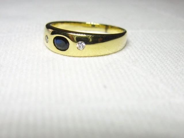 ring f r den kleinen finger bandring gold 585 brillanten 0 08ct saphir goldring. Black Bedroom Furniture Sets. Home Design Ideas