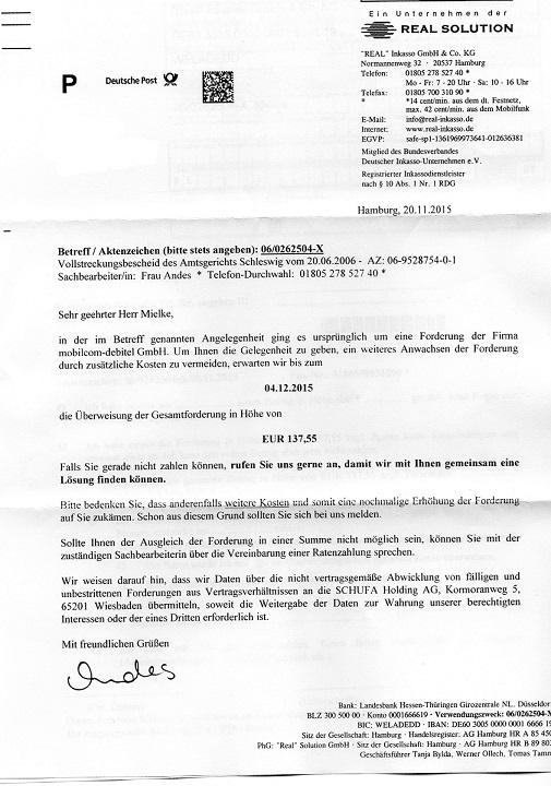 Problem Mit Der Real Inkasso Inkasso Forum 123rechtde