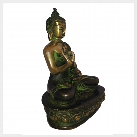 lehrender buddha cm messing figur nepal tibet indien buddhismus heilend ebay. Black Bedroom Furniture Sets. Home Design Ideas