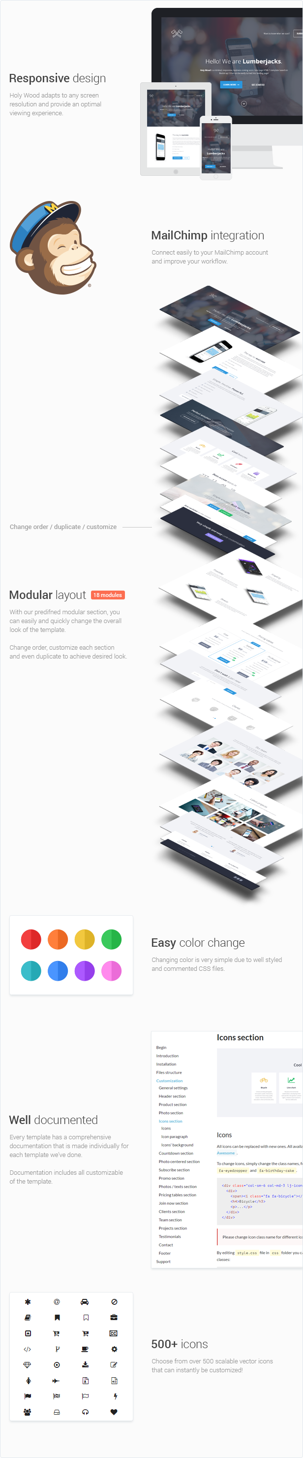 Beard Minimal Responsive Landing Page Template features and modules