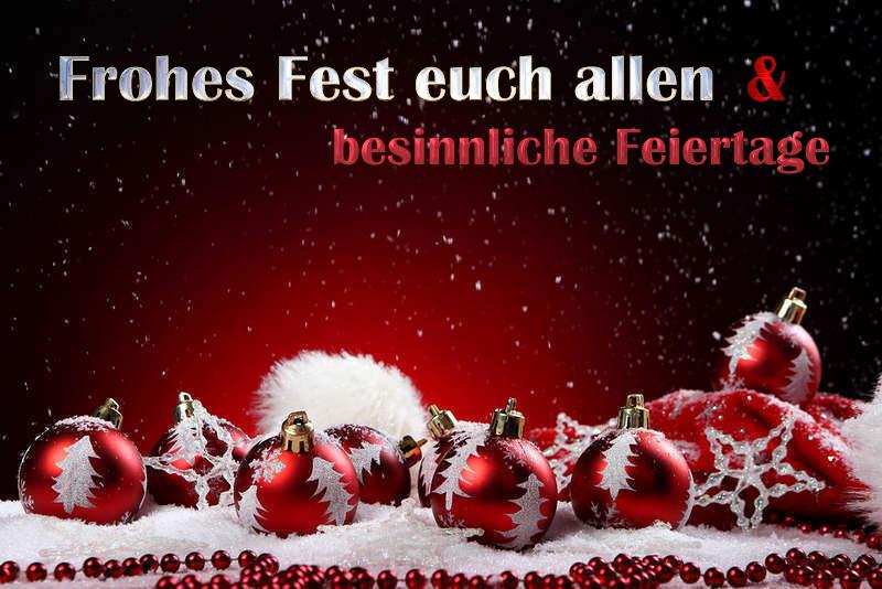 Frohe Weihnachten Besinnliche Feiertage.Frohes Fest Und Besinnliche Feiertage Allen