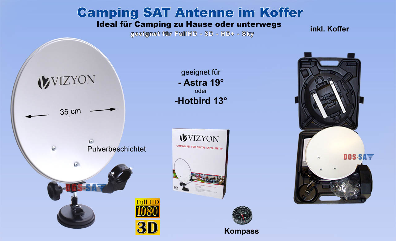 camping sat sch ssel im koffer saugfu mobile antenne. Black Bedroom Furniture Sets. Home Design Ideas