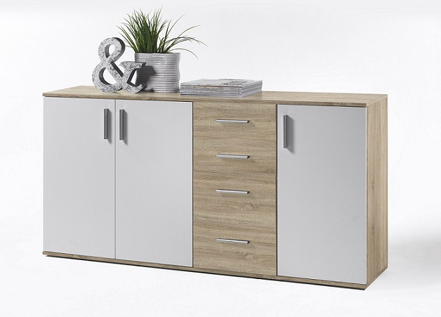 kommode bobby 3 anrichte sideboard schrank wei natur. Black Bedroom Furniture Sets. Home Design Ideas