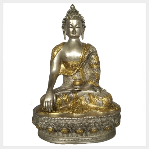 erdender buddha 33cm ca 4 kg silber messing figur nepal tibet indien buddhismus ebay. Black Bedroom Furniture Sets. Home Design Ideas