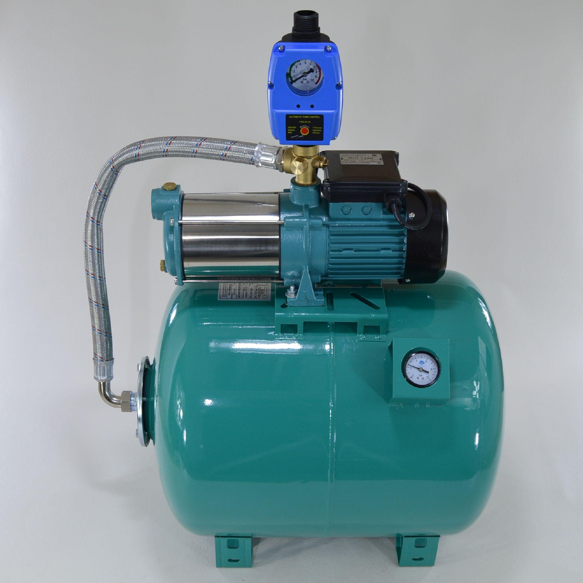 hauswasserwerk 80 l pumpe 1300w inox mit pumpensteurung. Black Bedroom Furniture Sets. Home Design Ideas