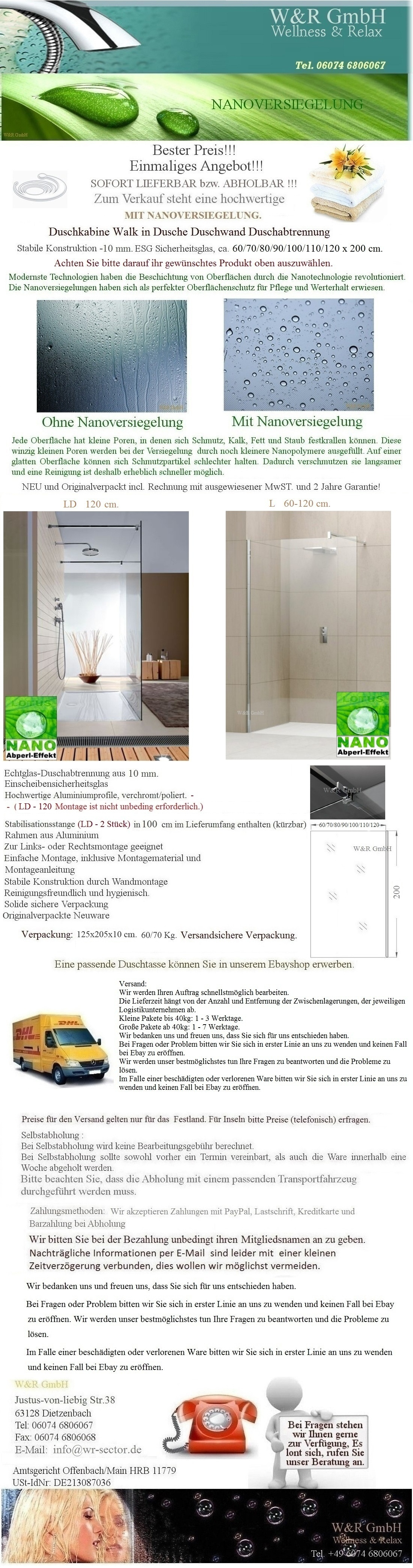 duschkabine walk in dusche duschwand duschabtrennung 10 mm nano glas 60 120x200 ebay. Black Bedroom Furniture Sets. Home Design Ideas