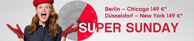 airberlin: Super Sunday - Hin-und Rückflug in die USA ab 296 Euro