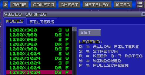 Various emulator settings
