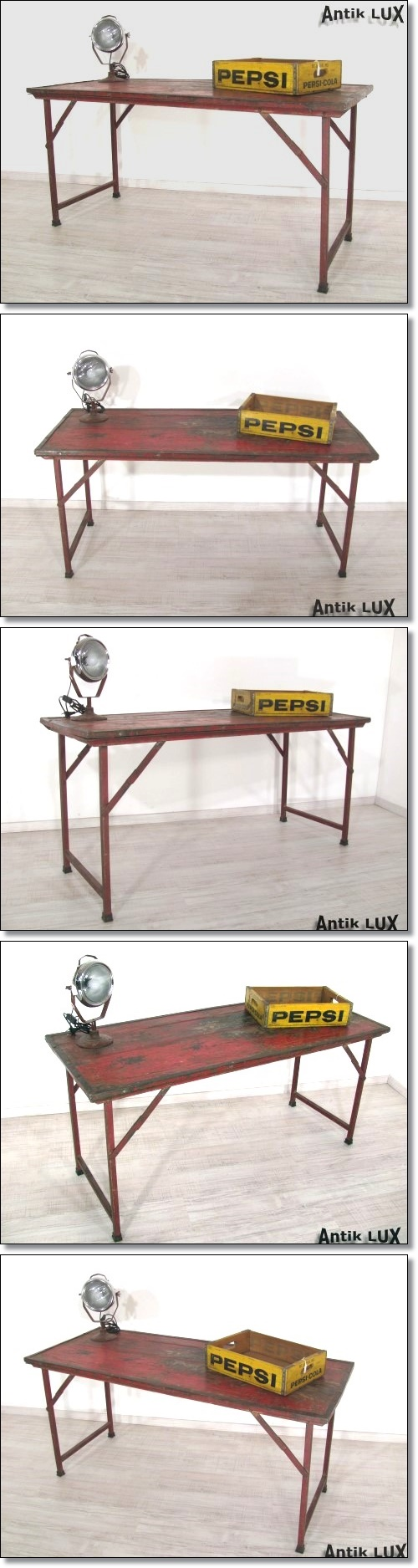 antiker klapptisch industriedesign schreibtisch tisch shabby chic rot metall ebay. Black Bedroom Furniture Sets. Home Design Ideas