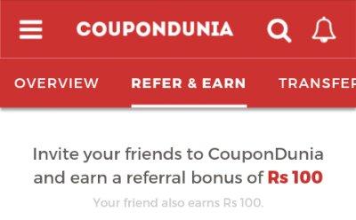 CouponDunia Refer and Earn