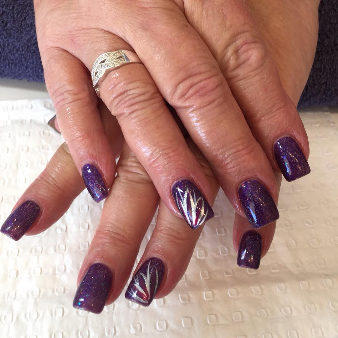 Silver Purple And Black Nail Design Tutorial Stylish Feather Nail