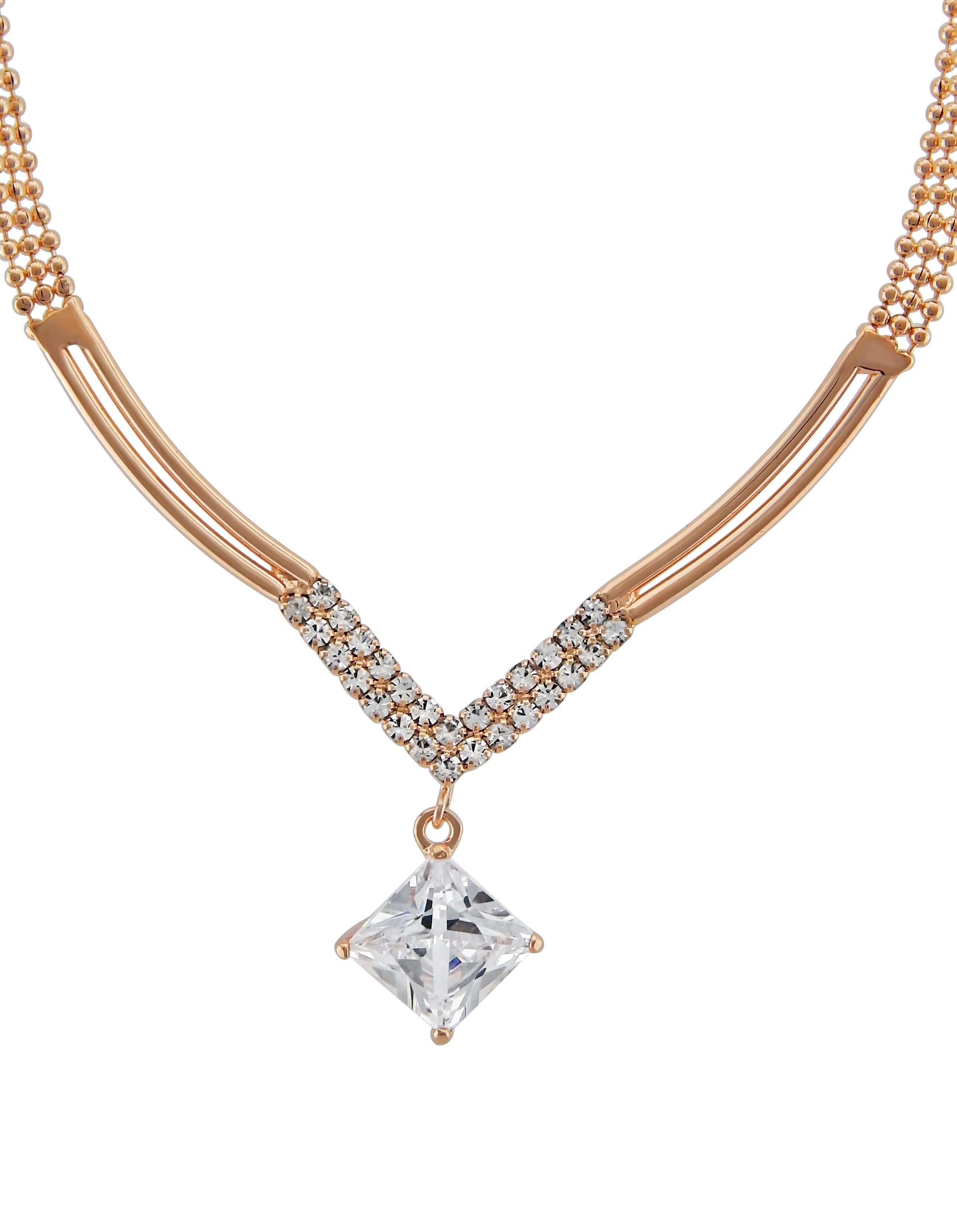 damen schmuck hals kette rose gold vergoldet kristall strass stein geschenk edel ebay. Black Bedroom Furniture Sets. Home Design Ideas