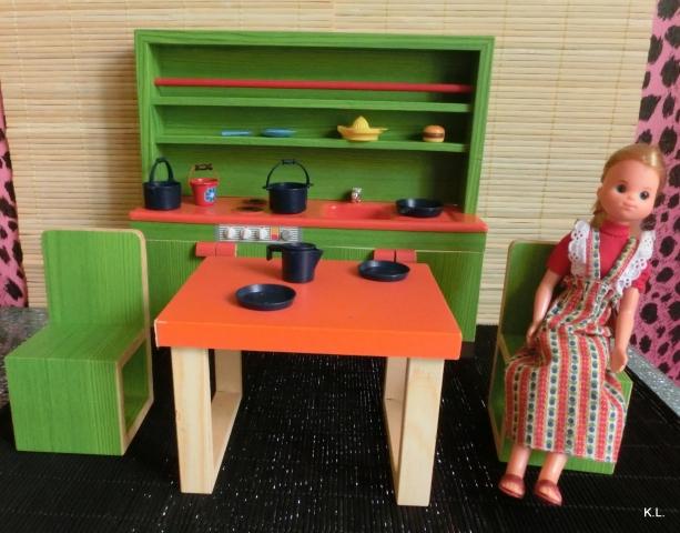 nostalgie holz k che barbie vintage 70er top ebay. Black Bedroom Furniture Sets. Home Design Ideas