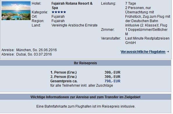 7 Tage Fujairah im 5* Hotel für nur 399€ inkl. Flügen, Frühstück, Transfer und Zug zum Flug
