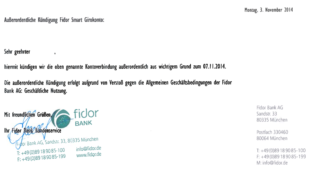KГјndigung Fidor Bank
