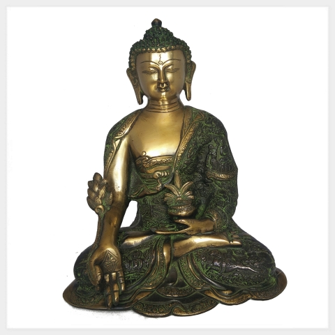 medizinbuddha messing 29 cm ca 6 kg figur nepal tibet indien buddhismus antik ebay. Black Bedroom Furniture Sets. Home Design Ideas