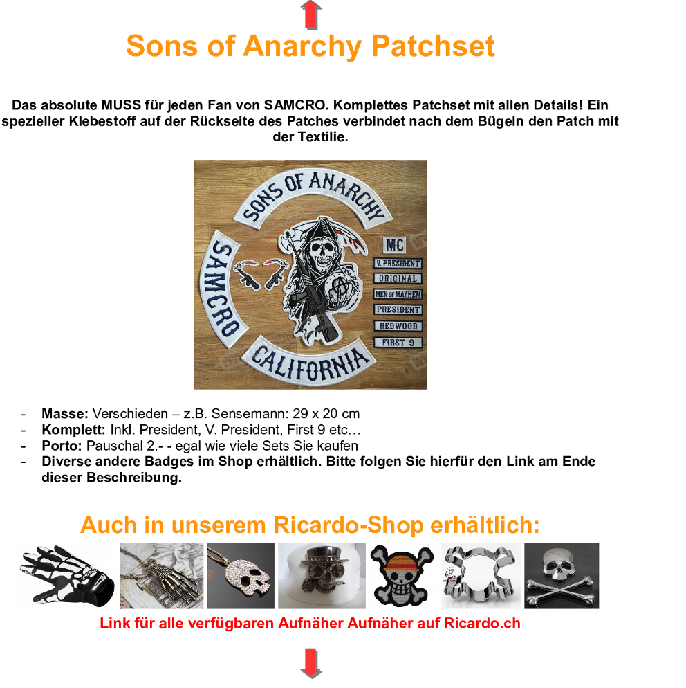 sons of anarchy patchset aufn her in illnau kaufen bei. Black Bedroom Furniture Sets. Home Design Ideas