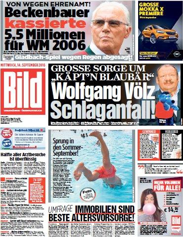 : Bild-Zeitung vom 14.09.2016