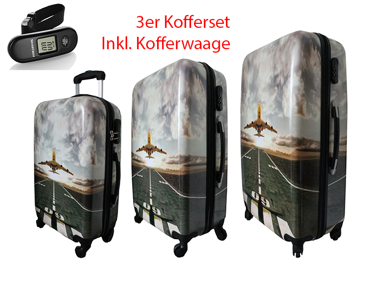 koffer 3er set flugzeug motiv inkl kofferwaage. Black Bedroom Furniture Sets. Home Design Ideas