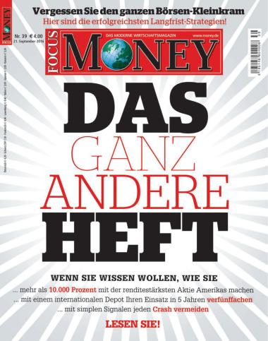 Focus Money Finanzmagazin No 39 vom 21. September 2016