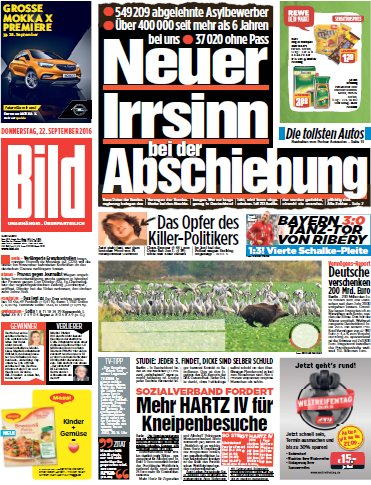 : Bild Zeitung - vom 22 September 2016