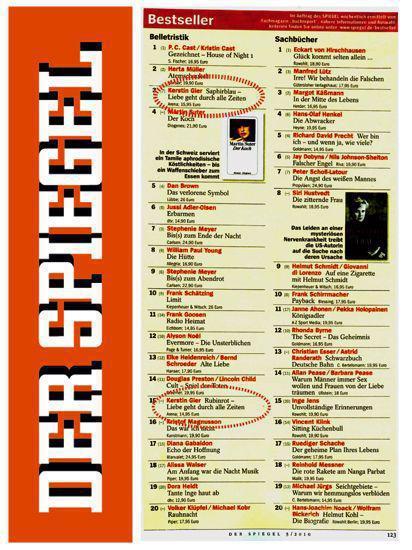 : Spiegel-Bestseller-Liste Belletristik - Kw 40-2016
