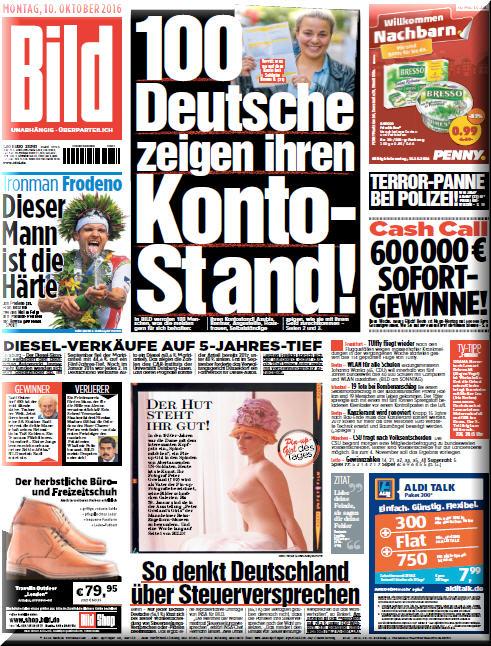 : Bild Zeitung - 10 Oktober 2016
