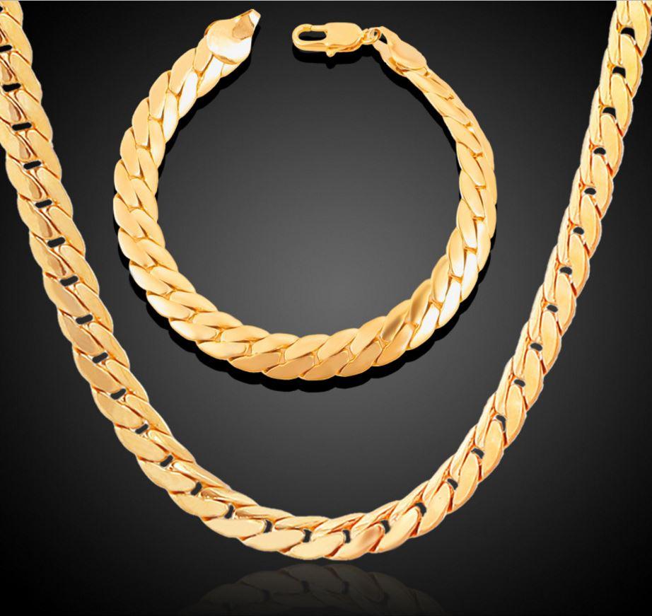 herren schmuck set in gold goldene hals kette arm band. Black Bedroom Furniture Sets. Home Design Ideas