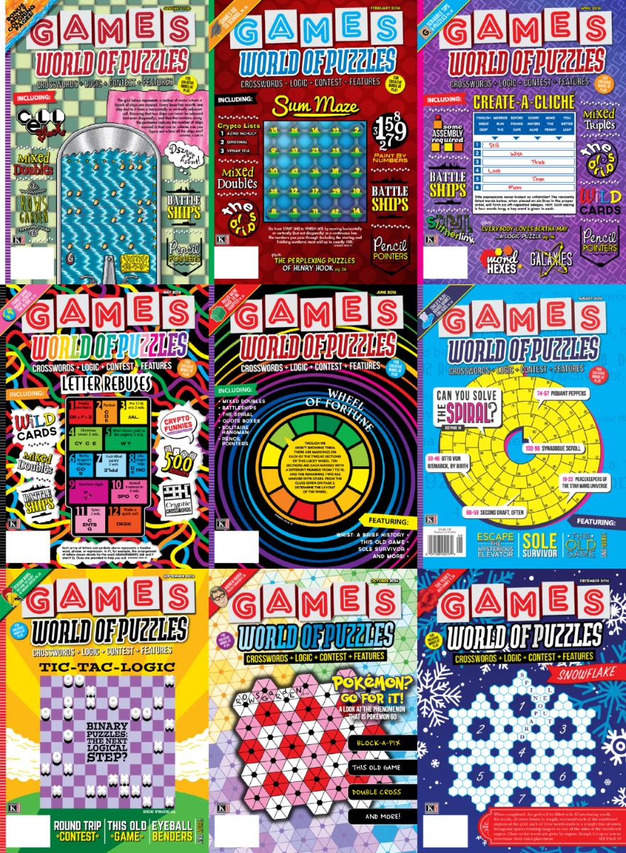 : Games World of Puzzles - 2016 Full Year Issues Collection