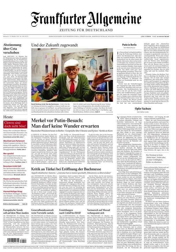 : Frankfurter Allgemeine Zeitung - 19 Oktober 2016