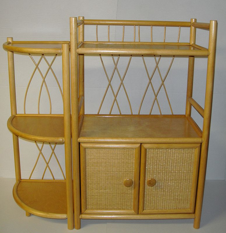 regal rattan ramin neu ecke made in germany in honig ebay. Black Bedroom Furniture Sets. Home Design Ideas