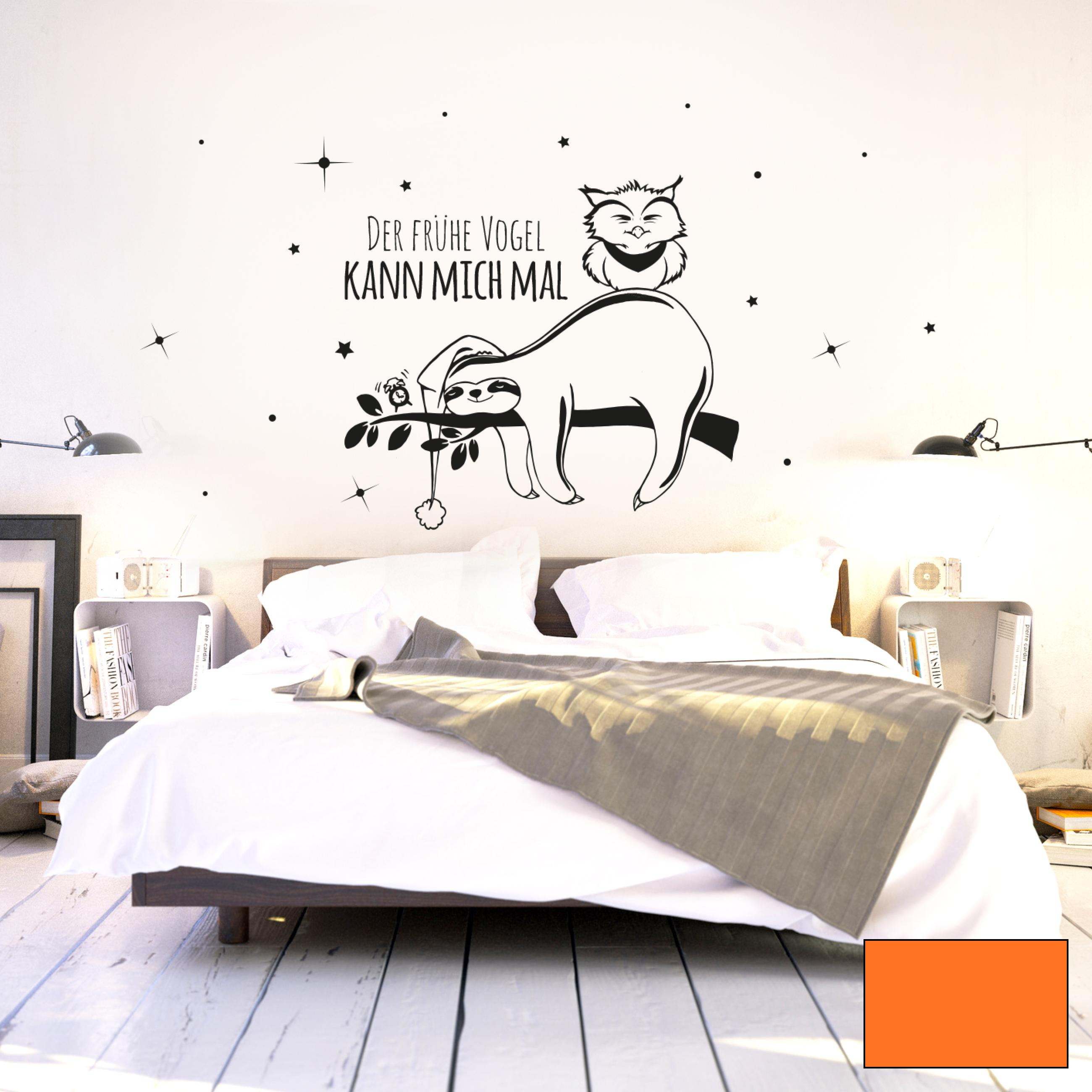 wandtattoo faultier und eule mit spruch der fr he vogel. Black Bedroom Furniture Sets. Home Design Ideas