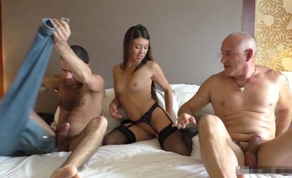 Tiffany gets fucked by an older man and another guy.