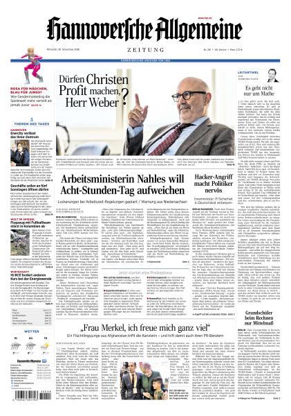 Hannoversche Allgemeine Zeitung 30 November 2016