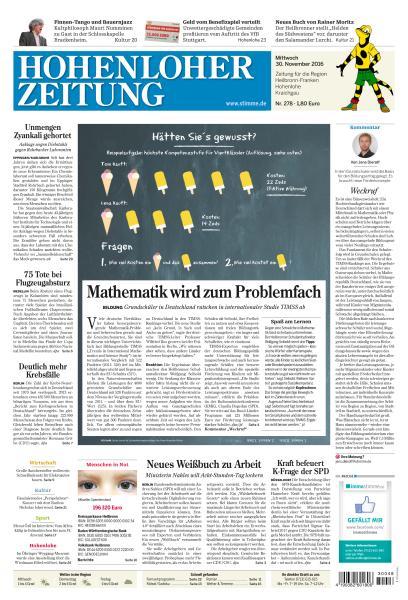 Hohenloher Zeitung 30 November 2016