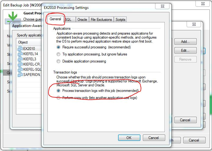 Since B&R 9 5 the Exchange Logfiles dont trunkate - Veeam