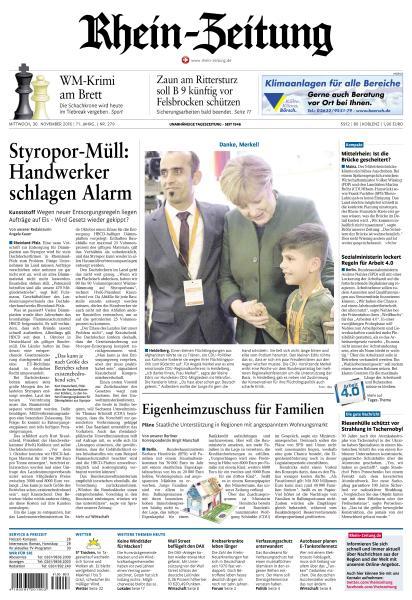 Rhein Zeitung 30 November 2016