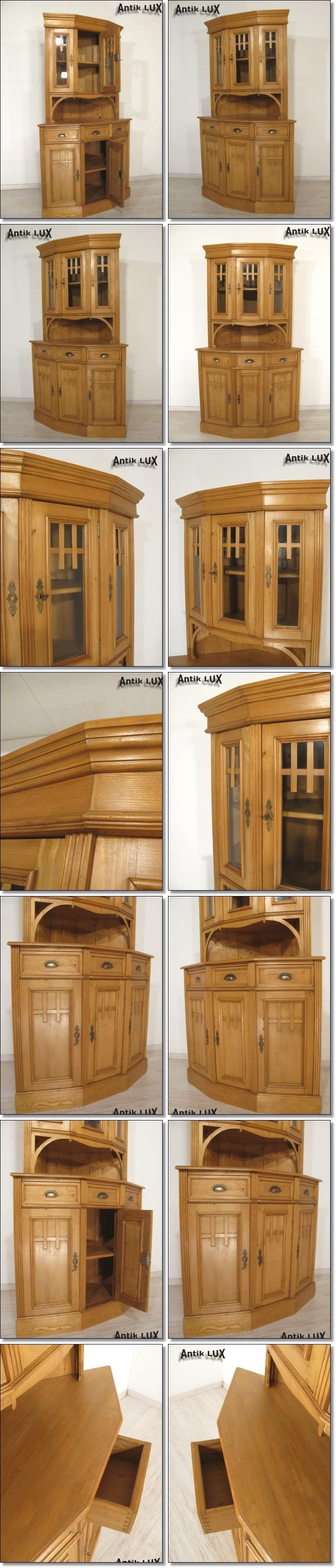 traumhafter jugendstil eckschrank in weichholz vitrine schrank regal antik lux ebay. Black Bedroom Furniture Sets. Home Design Ideas