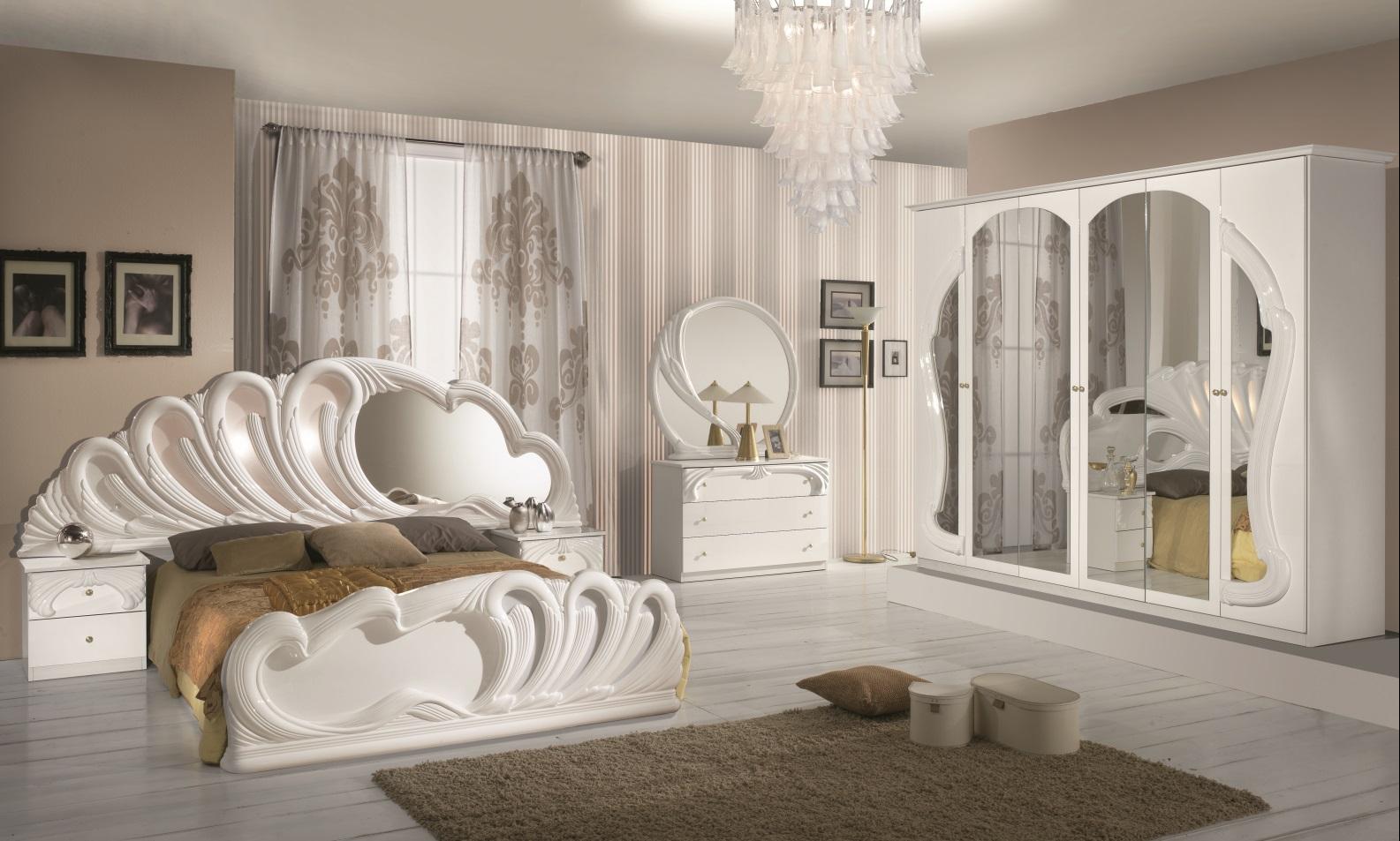 Italienisches Schlafzimmer in weiss Hochglanz lackiert - Temiz ...