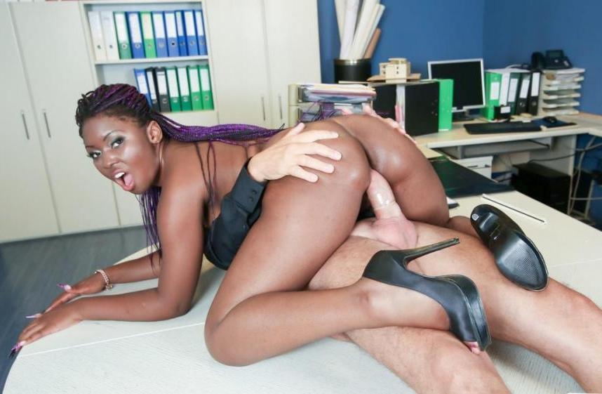 Sunny Star - German older boss fucks his ebony secretary in office sex fantasy 10.12.2016