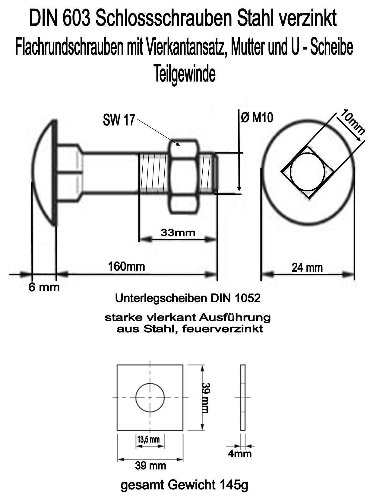 2 schlossschrauben m10x160mm mit 2 starken. Black Bedroom Furniture Sets. Home Design Ideas