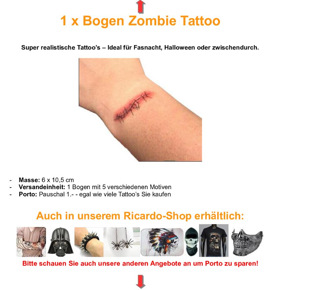 zombie tattoo schnittverletzung kratzer in illnau kaufen bei. Black Bedroom Furniture Sets. Home Design Ideas